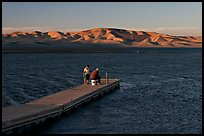 Fishing on San Luis Reservoir at sunset. California, USA ( color)