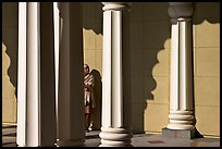 Woman and colonade, Sikh Gurdwara Temple. San Jose, California, USA ( color)
