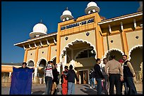 Indian immigrants gathering in fron of the Sikh Gurdwara Temple. San Jose, California, USA ( color)