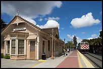 Train station in victorian style. Menlo Park,  California, USA