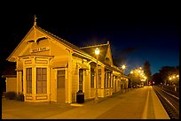Train station (oldest in California) at night. Menlo Park,  California, USA ( color)