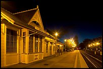Train station (oldest in California) at night. Menlo Park,  California, USA