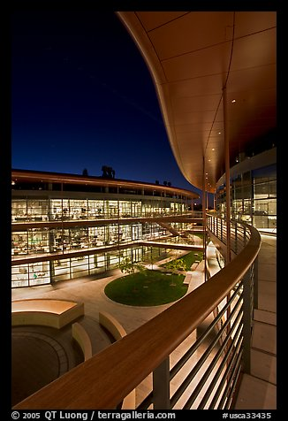 Newly constructed James Clark Center for research in biology, night. Stanford University, California, USA