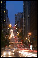 Steep street and lights at dusk. San Francisco, California, USA ( color)