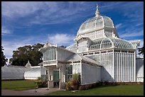 Facade of the renovated Conservatory of Flowers. San Francisco, California, USA (color)