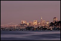Sausalito houseboats and San Francisco skyline at night. San Francisco, California, USA ( color)