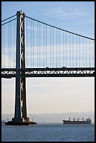 Bay Bridge and tanker,  morning. San Francisco, California, USA ( color)
