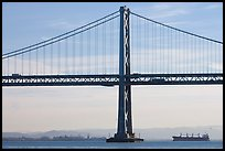 Traffic on Oakland Bay Bridge and tanker ship. San Francisco, California, USA ( color)
