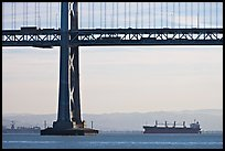Tanker ship and Bay Bridge,  morning. San Francisco, California, USA ( color)