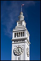 Clock tower of the Ferry building, 204 foot tall. San Francisco, California, USA (color)