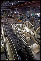 Cable winding machinery in the Cable-car powerhouse. San Francisco, California, USA ( color)