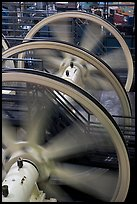 Wheels of cable winding machine. San Francisco, California, USA ( color)