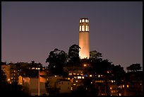 Coit Tower and Telegraph Hill at night. San Francisco, California, USA ( color)
