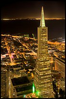 Transamerica Pyramid at night from the Carnelian Room. San Francisco, California, USA (color)