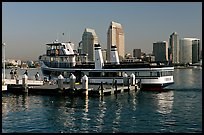Ferry and skyline, Coronado. San Diego, California, USA (color)