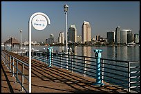 Sign, Ferry pier and skyline, Coronado. San Diego, California, USA