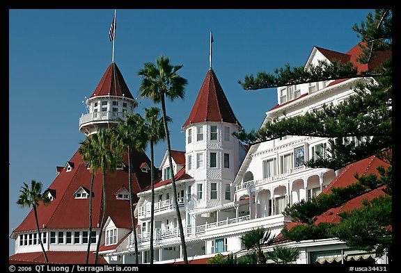 Turrets and towers of Hotel Del Coronado. San Diego, California, USA
