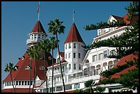Turrets and towers of Hotel Del Coronado. San Diego, California, USA (color)