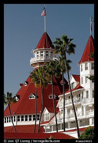 Towers and red roof of Hotel Del Coronado. San Diego, California, USA