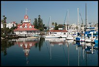 Harbor and boathouse restaurant, Coronado. San Diego, California, USA (color)