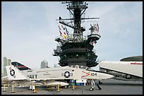 Navy aircraft and island superstructure, USS Midway. San Diego, California, USA