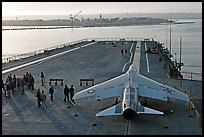 Plane in position at catapult, USS Midway aircraft carrier. San Diego, California, USA