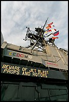 Island and flags,  USS Midway aircraft carrier. San Diego, California, USA (color)
