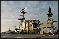 Flight deck and island, USS Midway aircraft carrier, late afternoon. San Diego, California, USA