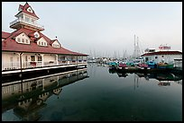 Period and modern boathouses, early morning, Coronado. San Diego, California, USA (color)