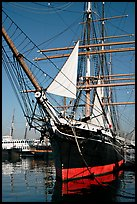 Iron-hulled 1863 ship Star of India, Maritime Museum. San Diego, California, USA (color)