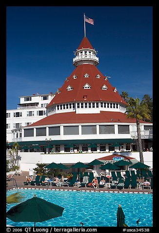 Swimming pool and tower,  Del Coronado hotel. San Diego, California, USA