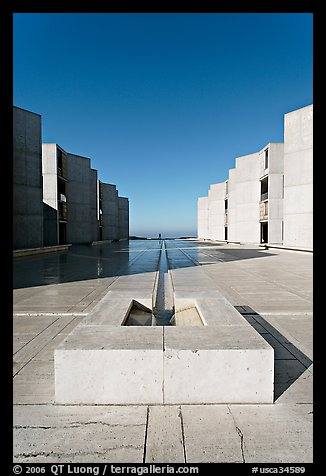 Salk Institute for biological studies designed by Louis Kahn, morning. La Jolla, San Diego, California, USA (color)