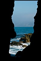 View through a seacave at the Cove. La Jolla, San Diego, California, USA ( color)