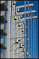Modern arrangement of Bells in the Crystal Cathedral complex. Garden Grove, Orange County, California, USA