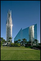 Crystal Cathedral and  bell tower, buildings made of glass for Televangelist Robert Schuller. Garden Grove, Orange County, California, USA ( color)