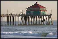 Surf and Huntington Pier, late afternoon. Huntington Beach, Orange County, California, USA