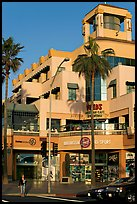 Shopping center on waterfront avenue. Huntington Beach, Orange County, California, USA (color)