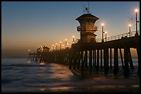Huntington Pier lights at twilight. Huntington Beach, Orange County, California, USA