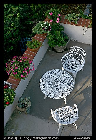 Garden chairs and table seen from above. Laguna Beach, Orange County, California, USA
