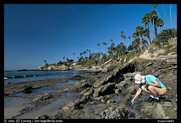 Women checking out a tidepool. Laguna Beach, Orange County, California, USA