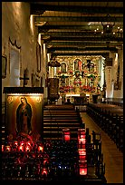 Inside of original mission chapel, constructed in 1782. San Juan Capistrano, Orange County, California, USA