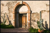 Cactus, and weathered facade. San Juan Capistrano, Orange County, California, USA