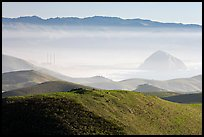 Power plant and Morro Rock seen from hills. California, USA (color)
