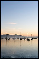 Yachts reflected in Morro Bay harbor, sunset. Morro Bay, USA ( color)