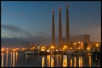 Morro Bay power plant at dusk. Morro Bay, USA (color)