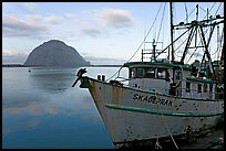 Baat with rusted hull and Morro Rock. Morro Bay, USA ( color)