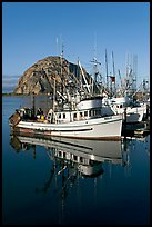 Fishing boats reflected in harbor,  and Morro Rock, early morning. Morro Bay, USA ( color)