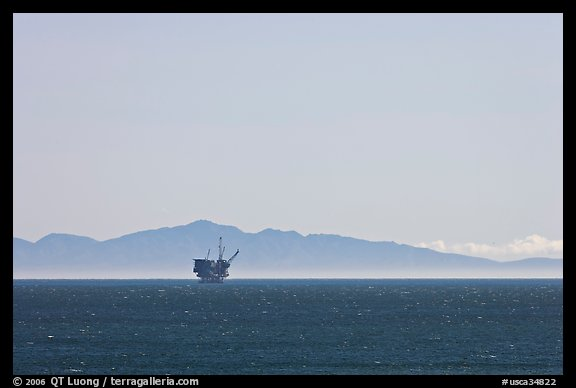 Off-shore oil extraction platform, and Channel Islands. California, USA
