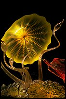 Glass artwork inspired by jellyfish, Monterey Bay Aquarium. Monterey, California, USA (color)