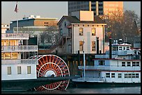 Riverboats Delta King and Spirit of Sacramento, modern and old buildings. Sacramento, California, USA ( color)